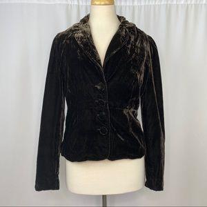vintage velour button up blazer jacket